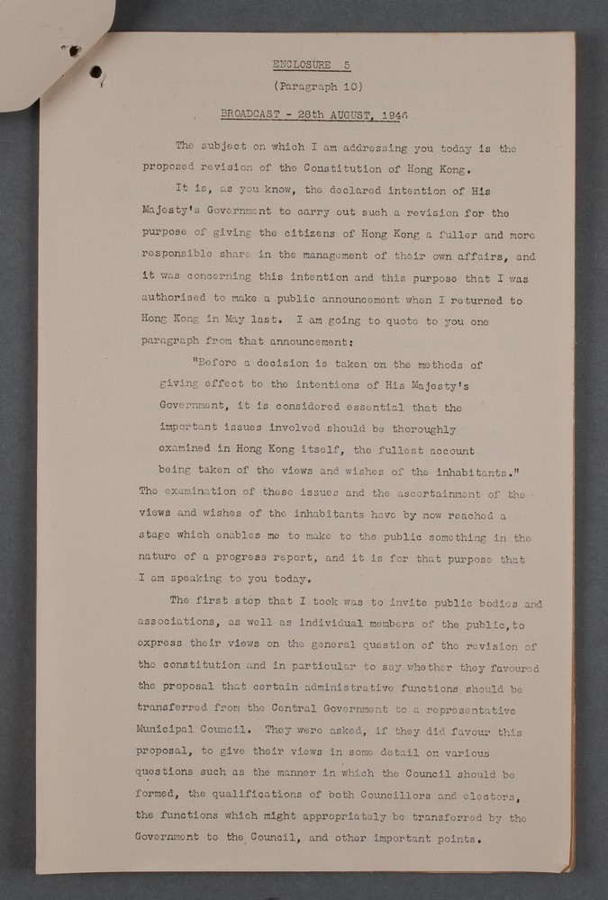 Recording hong kong 1940s governor sir mark youngs speech regarding the outline of the proposals of establishing a municipal council 28 august 1946 yelopaper